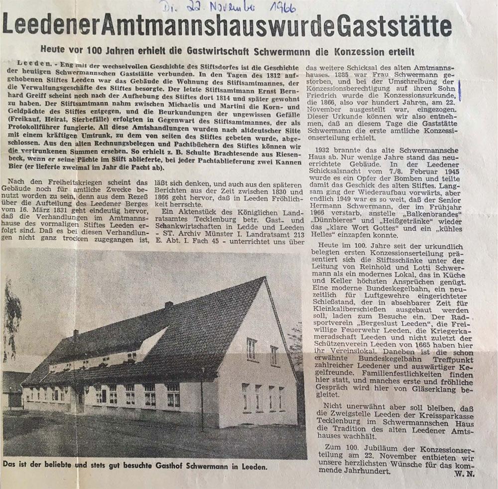 Zeitungsartikel 22. November 1966